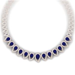 33.4 CTW Royalty Sapphire & VS Diamond Necklace 18K Rose Gold - REF-1200H2W - 39442