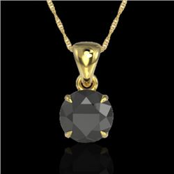 2 CTW Black VS/SI Diamond Certified Inspired Solitaire Necklace 18K Yellow Gold - REF-63W6H - 22016