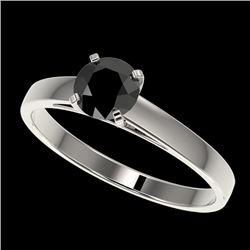 0.75 CTW Fancy Black VS Diamond Solitaire Engagement Ring 10K White Gold - REF-28T5X - 32974