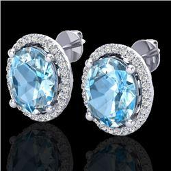 6 CTW Sky Blue Topaz & Micro VS/SI Diamond Certified Earrings Halo 18K White Gold - REF-74W5H - 2104