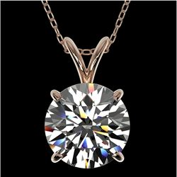 2.03 CTW Certified H-SI/I Quality Diamond Solitaire Necklace 10K Rose Gold - REF-567F3M - 36809