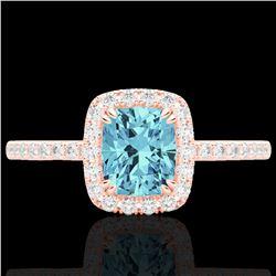 1.25 CTW Sky Blue Topaz & Micro Pave VS/SI Diamond Halo Ring 10K Rose Gold - REF-34N5Y - 22913