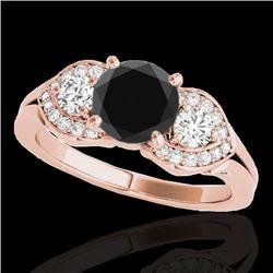 1.45 CTW Certified Vs Black Diamond 3 Stone Ring 10K Rose Gold - REF-73R3K - 35335