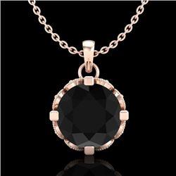 1.5 CTW Fancy Black Diamond Solitaire Art Deco Stud Necklace 18K Rose Gold - REF-89R3K - 37381