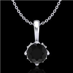 0.62 CTW Fancy Black Diamond Solitaire Art Deco Stud Necklace 18K White Gold - REF-56X4T - 37793