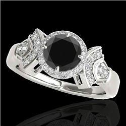 1.56 CTW Certified Vs Black Diamond Solitaire Halo Ring 10K White Gold - REF-69X3T - 34331
