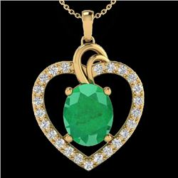 4 CTW Emerald & VS/SI Diamond Designer Inspired Heart Necklace 14K Yellow Gold - REF-81K8R - 20493