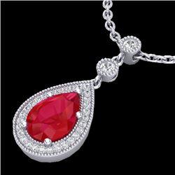 2.75 CTW Ruby & Micro Pave VS/SI Diamond Necklace Designer 18K White Gold - REF-52T8X - 23138