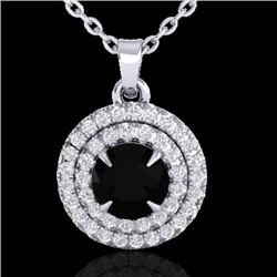 1 CTW Micro Pave VS/SI Diamond Certified Neckalce Double Halo 18K White Gold - REF-62Y5N - 21537