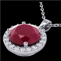 2 CTW Ruby & Halo VS/SI Diamond Micro Pave Necklace Solitaire 18K White Gold - REF-45R8K - 21573