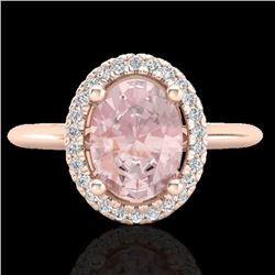 1.50 CTW Morganite & Micro VS/SI Diamond Ring Solitaire Halo 14K Rose Gold - REF-50K4R - 21014