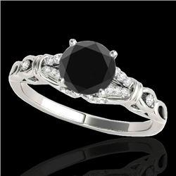 1.2 CTW Certified Vs Black Diamond Solitaire Ring 10K White Gold - REF-52M2F - 35253