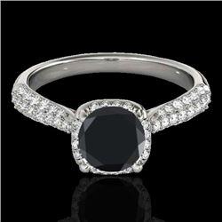 1.5 CTW Certified Vs Black Diamond Solitaire Halo Ring 10K White Gold - REF-68K2R - 33261