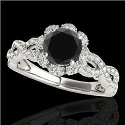 1.69 CTW Certified Vs Black Diamond Solitaire Halo Ring 10K White Gold - REF-89X3T - 34108