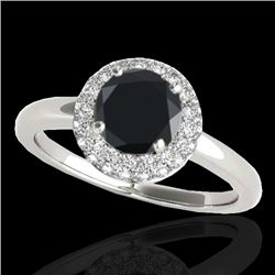1.43 CTW Certified Vs Black Diamond Solitaire Halo Ring 10K White Gold - REF-65X6T - 33664