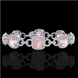 22 CTW Morganite & Micro VS/SI Diamond Certified Bracelet 14K White Gold - REF-575H5W - 23026