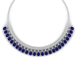 51.75 CTW Royalty Sapphire & VS Diamond Necklace 18K White Gold - REF-981H8W - 38877