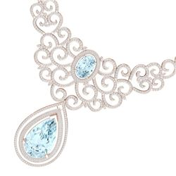 89.32 CTW Royalty Sky Topaz & VS Diamond Necklace 18K Rose Gold - REF-1563Y6N - 39846