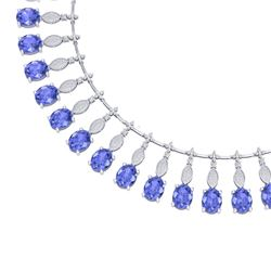 67.15 CTW Royalty Tanzanite & VS Diamond Necklace 18K White Gold - REF-1527F3M - 39129