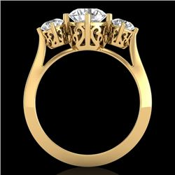 1.51 CTW VS/SI Diamond Solitaire Art Deco 3 Stone Ring 18K Yellow Gold - REF-427M3F - 37237