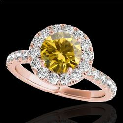 2 CTW Certified Si Fancy Intense Yellow Diamond Solitaire Halo Ring 10K Rose Gold - REF-227M3F - 334