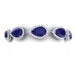 42 CTW Royalty Sapphire & VS Diamond Bracelet 18K White Gold - REF-527N3Y - 38862
