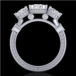 1.75 CTW VS/SI Diamond Solitaire Art Deco 3 Stone Ring 18K White Gold - REF-309K3R - 37070