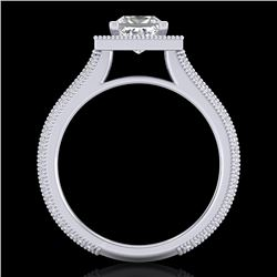 2 CTW Princess VS/SI Diamond Solitaire Micro Pave Ring 18K White Gold - REF-472N8Y - 37181