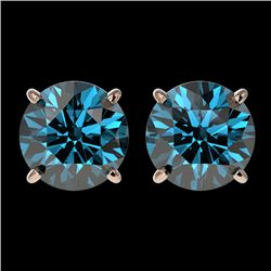 2.56 CTW Certified Intense Blue SI Diamond Solitaire Stud Earrings 10K Rose Gold - REF-381F8M - 3668