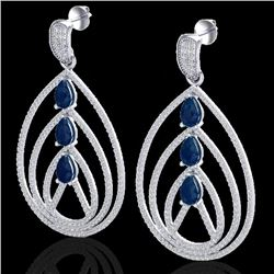 4 CTW Sapphire & Micro Pave VS/SI Diamond Designer Earrings 18K White Gold - REF-255X5T - 22459