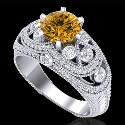 2 CTW Intense Yellow Diamond Solitaire Engagement Art Deco Ring 18K White Gold - REF-309Y3N - 37980