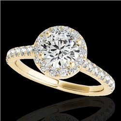 1.7 CTW H-SI/I Certified Diamond Solitaire Halo Ring 10K Yellow Gold - REF-218X2T - 33591