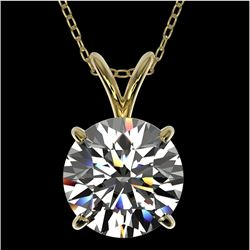 2 CTW Certified H-SI/I Quality Diamond Solitaire Necklace 10K Yellow Gold - REF-561W5H - 33232
