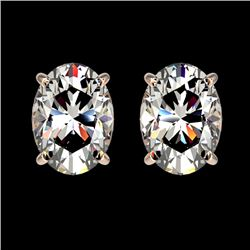 2 CTW Certified VS/SI Quality Oval Diamond Solitaire Stud Earrings 10K Rose Gold - REF-552M2F - 3309