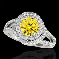 2.15 CTW Certified Si Fancy Intense Yellow Diamond Solitaire Halo Ring 10K White Gold - REF-253H5W -
