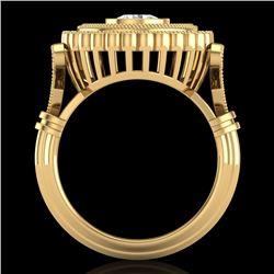 2.03 CTW VS/SI Diamond Solitaire Art Deco Ring 18K Yellow Gold - REF-270F2M - 37081