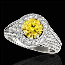 1.7 CTW Certified Si Fancy Intense Yellow Diamond Solitaire Halo Ring 10K White Gold - REF-233F6M -