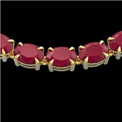 68 CTW Ruby Eternity Designer Inspired Tennis Necklace 14K Yellow Gold - REF-234M9F - 23408
