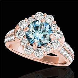 2.81 CTW SI Certified Fancy Blue Diamond Solitaire Halo Ring 10K Rose Gold - REF-309R3K - 33964