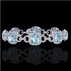 30 CTW Topaz & Micro VS/SI Diamond Certified Bracelet 14K White Gold - REF-368F9M - 23032