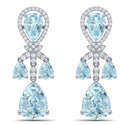 40.01 CTW Royalty Sky Topaz & VS Diamond Earrings 18K White Gold - REF-290K9R - 38613