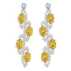 13.32 CTW Royalty Canary Citrine & VS Diamond Earrings 18K White Gold - REF-236M4F - 38991