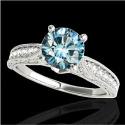 1.5 CTW SI Certified Fancy Blue Diamond Solitaire Antique Ring 10K White Gold - REF-221T8X - 34734