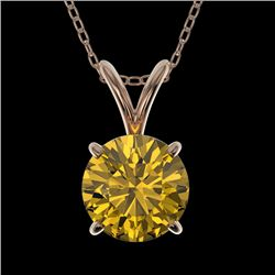 1 CTW Certified Intense Yellow SI Diamond Solitaire Necklace 10K Rose Gold - REF-161W8H - 33191