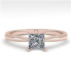0.50 CTW Princess Cut VS/SI Diamond Engagement Designer Ring 18K Rose Gold - REF-95W6H - 32387