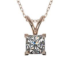 0.50 CTW Certified VS/SI Quality Princess Diamond Necklace 10K Rose Gold - REF-74M5F - 33167