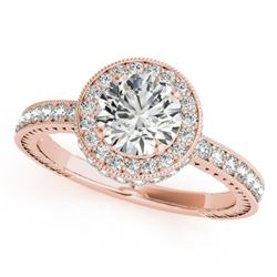 1.51 CTW Certified VS/SI Diamond Solitaire Halo Ring 18K Rose Gold - REF-398R5K - 26938