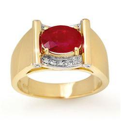 2.33 CTW Ruby & Diamond Mens Ring 10K Yellow Gold - REF-47K6R - 13492