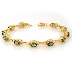 8.0 CTW Green Sapphire Bracelet 10K Yellow Gold - REF-63K6R - 10863
