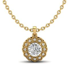 1.15 CTW VS/SI Diamond Solitaire Art Deco Necklace 18K Yellow Gold - REF-315M2F - 37057